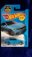 HOT WHEELS BMW M4 BLUE 2-DOOR COUPE DIECAST 1:64 SCALE 2015 HW CITY RARE SPORTY
