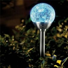 8 x Stainless Steel Colour Changing Solar Crackled Glass Ball Light Ice Orb