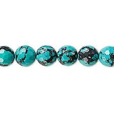 2372 IMITATION Turquoise Beads faceted round 8mm 8 inch  *UK EABY SHOP*
