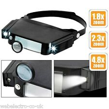 10793 Head Band Magnifying Loupe Glass with Led Light Lamp 4.8x 2.3x 1.8x