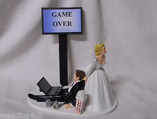 Wedding  Reception Party ~Laptop Computer~ Beer Drunk Nerd Groom Cake Topper