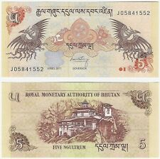 Bhutan 5 Ngultrum 2011 P-28b UNC Uncirculated Banknote + FREE NOTE