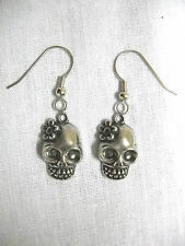 NEW HANDMADE CAST PEWTER SUGAR SKULL with FLOWER CHARMS PAIR OF EARRINGS