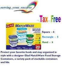 Glad MatchWare Food Storage Containers 20 count Dishwasher Microwave BPA Free
