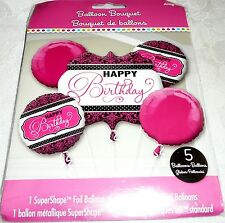 Anagram HAPPY BIRTHDAY Foil Balloon Bouquet 5 Balloons - Pink, Black & White