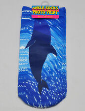 DOLPHIN Trainer 3D Photo SOCKS UK Shoe Size 3-7, 1pr WHALE Cotton Blend UKSeller