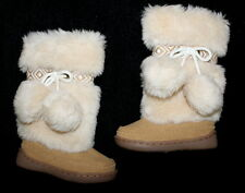 Baby Gap HIMALAYA Pom Pom Winter Faux Fur Boots Furry Toddler Girl Size 5 MINT