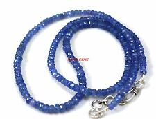 """Natural Tanzanite Gemstone 4-6 mm Rondelle Faceted 22"""" Strand Beads Necklace"""