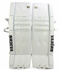"New Vaughn 1000 senior ice hockey goalie leg pads 36""+2 Sr Velocity V6 All White"