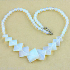 White Opal Opalite Gemstone Square Bead Choker Necklace Jewelry Gift 17''
