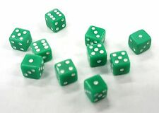 """TEN (10) TINY GREEN DICE WHITE PIPS 6 SIDED D6 DIE GAME SIX 3/16"""" 5mm MINIATURE"""