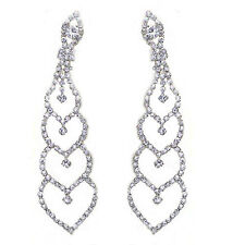 Queen Design Bridal Diamante Shiny Long Drop Dangle Earrings for Weddings E568