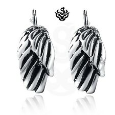 Silver stud stainless steel titanium wings earrings soft gothic