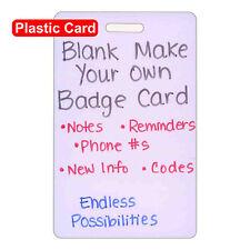 Blank Plastic Vert Make Your Own Badge ID Card Pocket Reference Nurse Paramedic