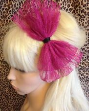 NEW DARK PINK LACE BOW ALICE HAIR HEAD BAND 80s STYLE RETRO PARTY FANCY DRESS