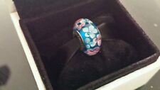 Genuine Pandora Murano Glass Charm Bead Wild Blue Pink Flowers S925 ALE
