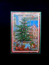 Unused Caspari Xmas Greeting Card by Ursula Arndt Old Fashioned Decorated Tree