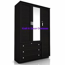 KraftNDecor Contemporary Wooden Almira/Three Door Wardrobe in Brown Colour