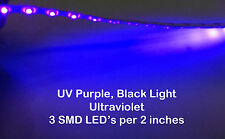 "6"" UV Purple UltraViolet LED Strip 9 SMD LED Waterproof Flexible Light Interior"
