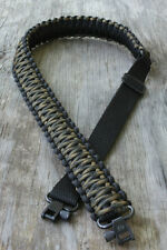 Adjustable Paracord Rifle Gun Sling With Swivels Military Woodland Camo & Black