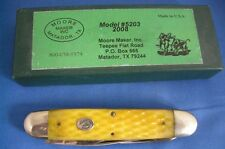 MOORE MAKER FOLDING POCKET KNIFE, EVEN ENDED TRAPPER, JIGGED YELLOW BONE