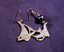 """Vtg 1990s Pewter 1"""" Fish and Sailboat Mixed Pair Earrings Signed Maurice Milleur"""