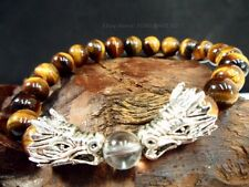 8mm Tiger Eye Bead Lucky Silver Chinese Dragon Charm Men Bracelet Good Luck #NEW