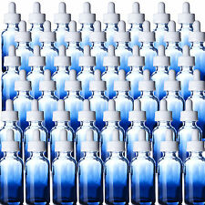 Blue Glass Shaded Boston Round 1 oz Bottles Qty 48 w/White Bulb Dropper Tops NEW