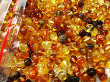 REAL  BALTIC AMBER HOLED LOOSE ROUND BEADS + 1 PLASTIC SCREW CLASPS