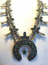 Vintage ZUNI Sterling Silver & Turquoise Needlepoint SQUASH BLOSSOM NECKLACE