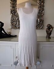 MARC CAIN Off White Knitted Crochet Lace Designer Linen Blend Dress N3 12 14