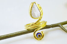 Ottoman Gems semi precious gem stone ring gold plated Pearl evil eye handmade