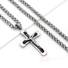 "Men 24"" Stainless Steel Black Silver Wheat Chain Necklace Crucifix Cross Pendant"