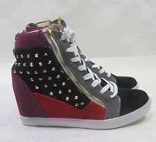 """black/multi spikes  3""""hidden wedge heel  lace up  ankle boot Size 11"""