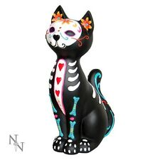 NEMESIS NOW SUGAR SKULL PUSS KITTY CAT ORNAMENT DAY OF THE DEAD TATTOO GIFT NEW