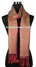 Stunning Handmade 2-Ply 100% Cashmere ZEBRA Pattern Shawl Wrap Scarf, Olive/Red