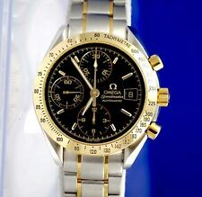 Mens Omega Speedmaster 18K Gold & SS Chronograph Watch - Black Dial - 3313.50