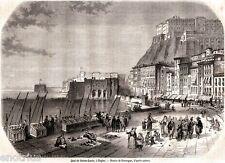 Napoli: Borgo Santa Lucia e Castel dell'Ovo. Stampa Antica + Passepartout. 1861