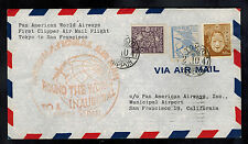 1947 Japan cover  to USA Around teh World Flight Pan American Clipper