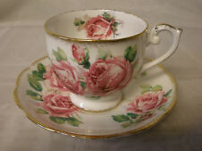 "QUEEN ANNE FINE BONE CHINA TEACUP & SAUCER SET ""LADY MARGARET"" CABBAGE ROSE"