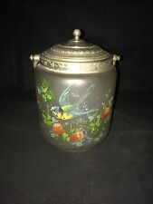 VINTAGE ANTIQUE HAND PAINTED  GLASS BISCUIT JAR / BARREL