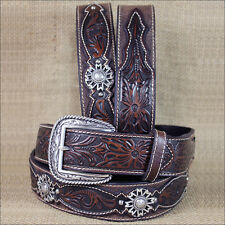 36 INCH M&F WESTERN ARIAT LEATHER MENS BELT ROWEL BROWN OILED ROWDY