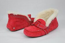 UGG Poler Fully Lined Suede Wool Moccasin Slippers Lipstick Red Size 10 US