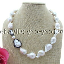 "S100606 19"" White Keshi Pearl Necklace CZ Connector"