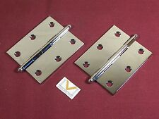 """Pair Small Hinge Cabinet Door Polished Chrome Solid Brass Ball Tip 2 1/2"""" x 3"""""""