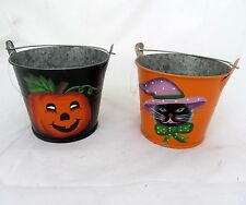 Set Of 2 Halloween Metal Pumpkin Mini Buckets Primitive Tealight Candle holders