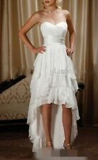 Simple Chiffon High Low Country Wedding Dress White Summer Beach Bridal Gown New
