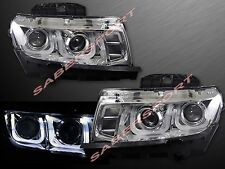 PAIR U SHAPE HALO DUAL PROJECTOR HEADLIGHTS (HALOGEN) FOR 2014-2015 CHEVY CAMARO