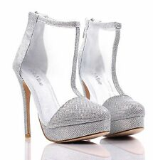 Silver Glitter Dress High Heels Booties Sandal Womens Stiletto Shoes Size 6
