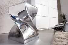 Hocker Sitzhocker TWIST 45cm Aluminium poliert Retro Lounge Design Beistelltisch